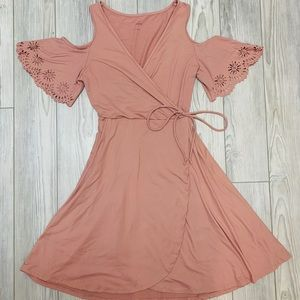 Francesca's Open Shoulder Wrap Dress